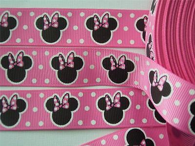 """BB Ribbon MINNIE MOUSE LOLLY PINK 1m grosgrain 7/8"""" disney mickey craft hair bow"""
