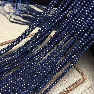"""2x4mm Natural Faceted Dark Blue Sapphire Rondelle Gemstone Loose Beads 15"""" AAA"""
