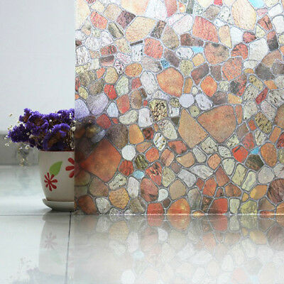 Static Cling Frosted Stained Cobblestone Window Film Sticker Privacy Home Decor