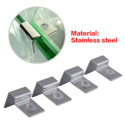 4x Stainless Aquarium Fish Tank Glass Cover Clip Support Holder 6/8/10/12mm