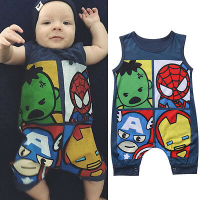 US Cotton Newborn Toddler Baby Boy Girls Romper Jumpsuit Bodysuit Clothes Outfit