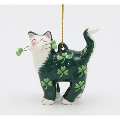 ✜ WHIMSICLAY CAT Kitten Ornament Collection Shamrock