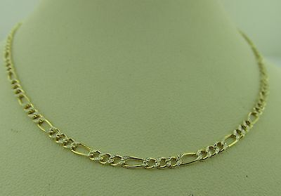 10k Yellow Gold with white gold diamond cuts Figaro Chain Necklace 2mm all sizes