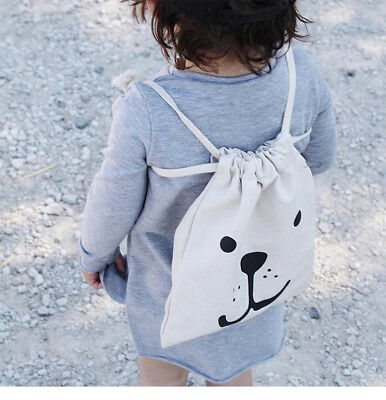 Cartoon Storage Canvas Bags Small Baby Kids Children Drawstring Laundry Basket