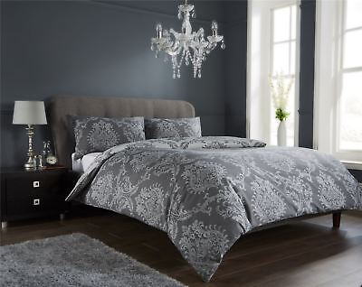 Damask Duvet Quilt Cover Set, Bed Linen Double King Size Bedding, Black Grey