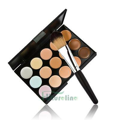 15 color crema facial maquillaje Corrector contorno paleta + Powder Brush