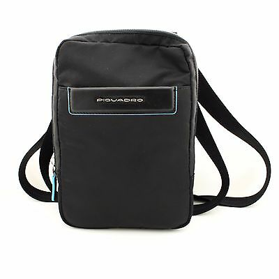Man Woman Shoulder Bag PIQUADRO BLACK SQUARE blue leather crossbody CA3084B3 BLU