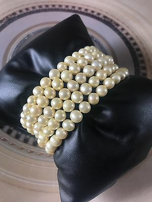 Vintage Five Strand Real Golden Cultured Pearl Bracelet 925 Clasp