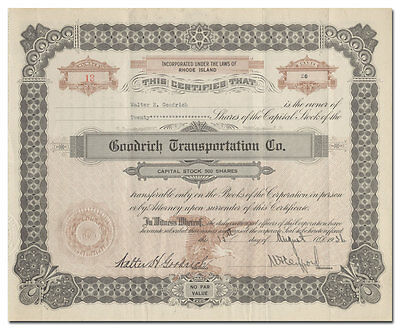 Goodrich Transportation Co. Stock Certificate Signed by Walter H. Goodrich
