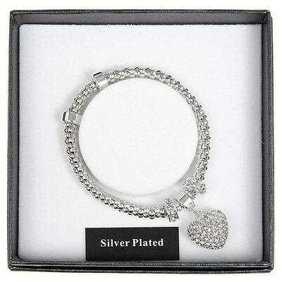 Equilibrium Silver Plated Diamante Heart Bracelet