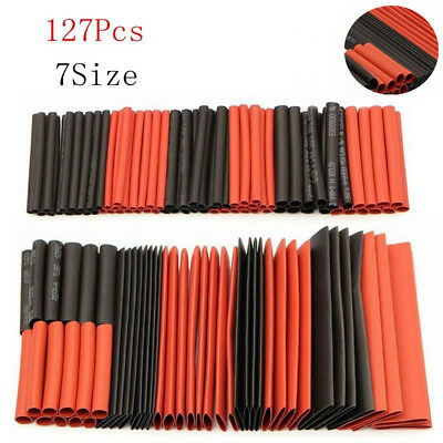 127Pcs 7 Size Tube Car Electrical Cable Wrap Sleeve Assorted Flame Retardant
