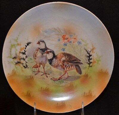 """Three Crown China Germany Game Bird Plate Signed """"Hucsis""""? 8 1/2"""""""