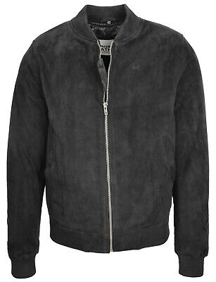 Mens Classic Fit Baseball Soft Lightweight Goat Suede Bomber Jacket Black