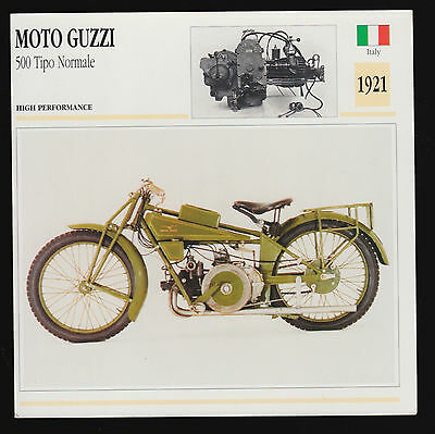 1921 Moto Guzzi 500cc Tipo Normale (498cc) Italy Motorcycle Photo Spec Info Card