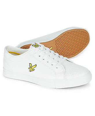 Lyle & Scott Whitlock Perforated Fashion Synthetic Plimsolls Shoes Trainer White