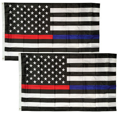 2 PACK - 3x5 Ft Thin RED & BLUE Line USA  Flag - Polyester b