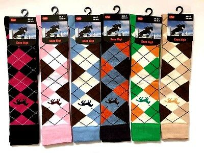 Ladies Girls knee High Horse Riding Cotton Rich Socks Equestrian Riding Socks.