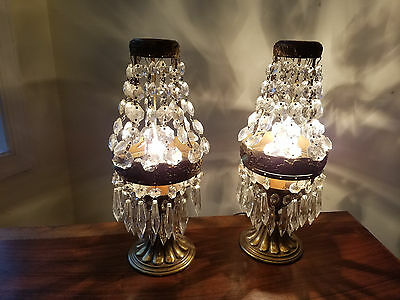 Antique French Elegant Empire Style Bronze And Crystal w/Prisms Pair of Lamps