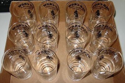 """(12) Old Crow 4.375"""" Tall Whiskey Glasses (50 years old) - Perfect Condition"""