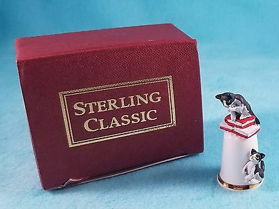 STERLING CLASSIC - Cats Collection - Cat with Books - Thimble