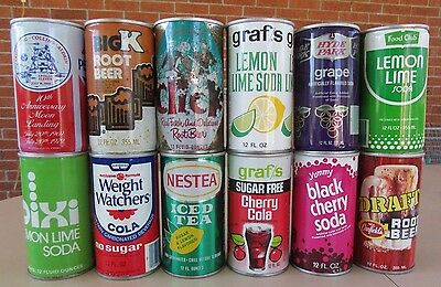 Vintage 1960's to 1980's 12 Different Soda Pop Cans #006