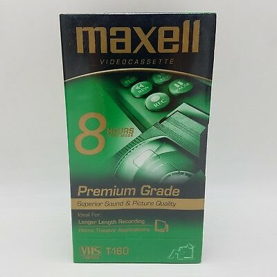 Maxell VHS Video Tape T160 8 Hour Premium Grade Sealed Videocassette