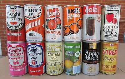 Vintage 1960's to 1980's 12 Different Soda Pop Cans #007
