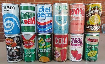Vintage 1960's to 1980's 12 Different Soda Pop Cans #009