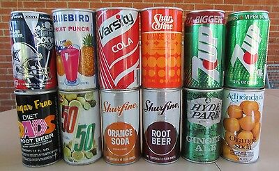 Vintage 1960's to 1980's 12 Different Soda Pop Cans #010