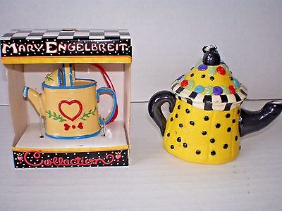 2 Mary Engelbreit Teapot Ornaments 1 New In Box