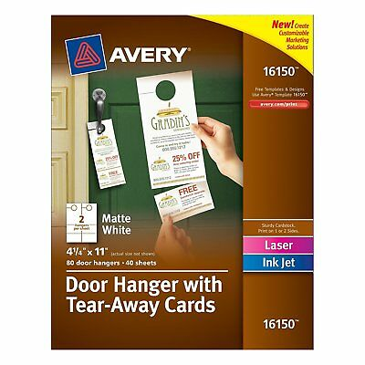 Avery Door Hanger with Tear-Away Cards, Matte White, 4.25 x 11 inches, Pack of