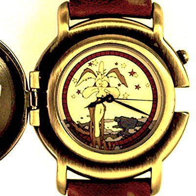 Wile Coyote Flip Cover, Mans Fossil NIB Warner Bros Watch Collection Unworn $115