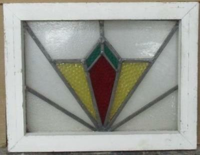 "OLD ENGLISH LEADED STAINED GLASS WINDOW Radiant Abstract Geometric 20"" x 15.5"""