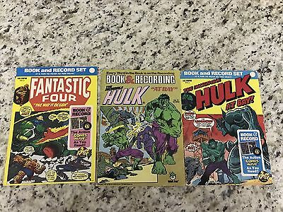 Lot of 3 Marvel Book and Record Books *No Records*  Incredible Hulk, Fantastic 4