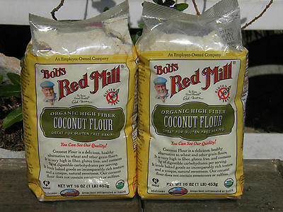 2 lbs Bob's Red Mill Organic High Fiber Coconut Flour 2 -1lb Bags Best by 5/2017