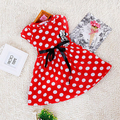 BNWT Girls Baby Kids Minnie Mouse Print Polka Dot Party Dress Summer Gift Mini