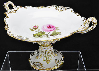 Antique Dresden Porcelain Pink and Gold Large Rose Compote 19th Century