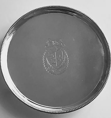 George III Sterling Silver Salver Made in London by Hannam and Crouch, 1787