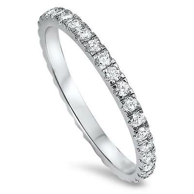 NEW STACKABLE ETERNITY RING Genuine STERLING SILVER Ring Size 5 6 7 8 9 10 11 12