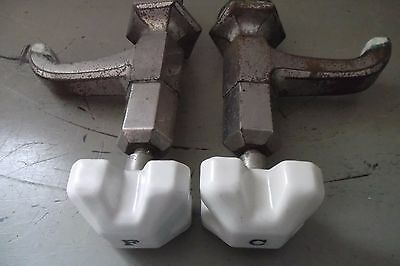 Pair of Art Deco French Taps  / Faucets with Porcelain Tops - Froid + Chaud