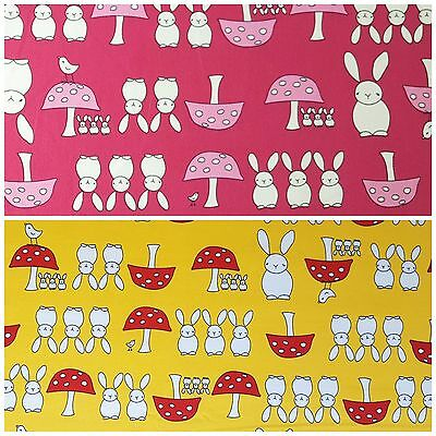 Pink Yellow Red Material Childrens Cute Birds *SALE* Rabbits 100/% Cotton Fabric