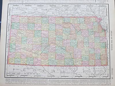 1896 McNally  Antique MAP NEBRASKA / KANSAS     DATED Mint