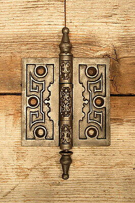 "Vintage Antique Ornate Victorian 3 1/2"" Steeple Tip Cast Iron Door Hinge"