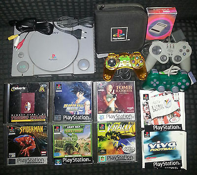 Lotto Sony Playstation  Stock Ps1 Psx Psone Console 3 Pad Memory Card 7 Giochi