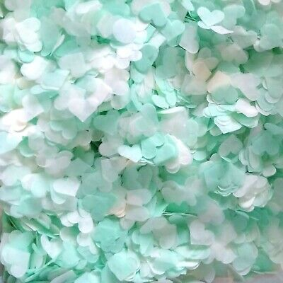 3500 Wedding Confetti Biodegradable Paper Hearts FILL 4 CONES MINT GREEN IVORY