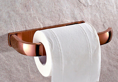 Copper Toilet Paper Holder Rose Gold Wall Mounted Hanger Bathroom Accessories