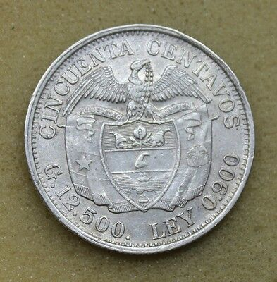 Colombia 1933 M 50 Cents Centavos Silver Coin Xf+ D11