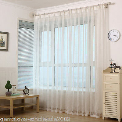 1X Soft Home Decor Bedroom Living Room Window Curtain Drapes White yarn GW