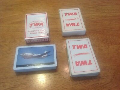Lot Of 2 Vintage TWA Playing Cards - MARTIN 404 - 1950 Bridge Size And 1 Generic