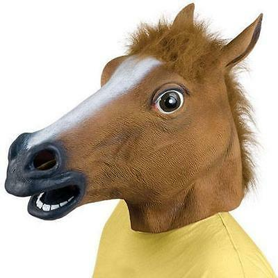 RUBBER HORSE HEAD MASK FANCY DRESS PARTY New year ADULT COSTUME UK SELLER